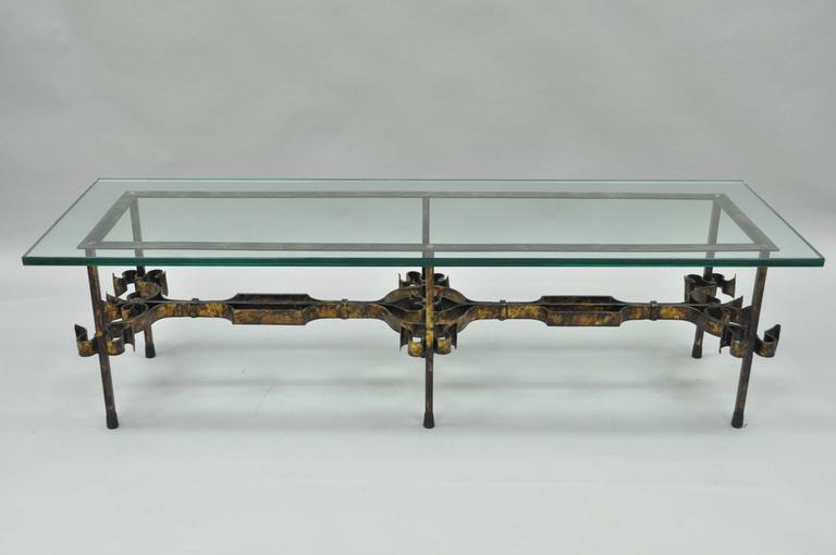 ornate hollywood regency gold gilt scrolling iron rectangular