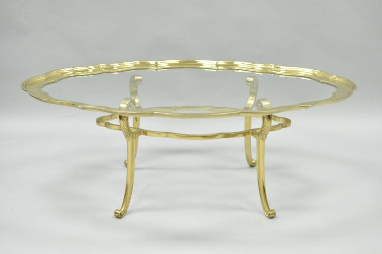 Regency Style Brass, Glass Serving Tray Turtle Top Coffee Table Baker  Attributed 2