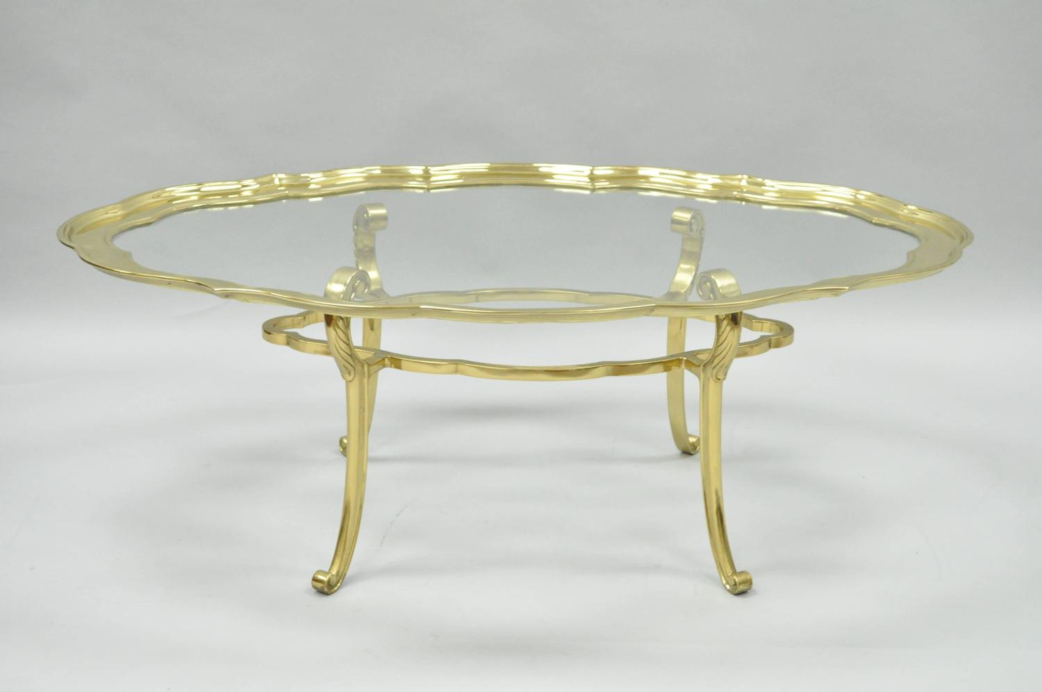 Regency Style Brass Glass Serving Tray Turtle Top Coffee Table Baker Attributed For Sale At 1stdibs