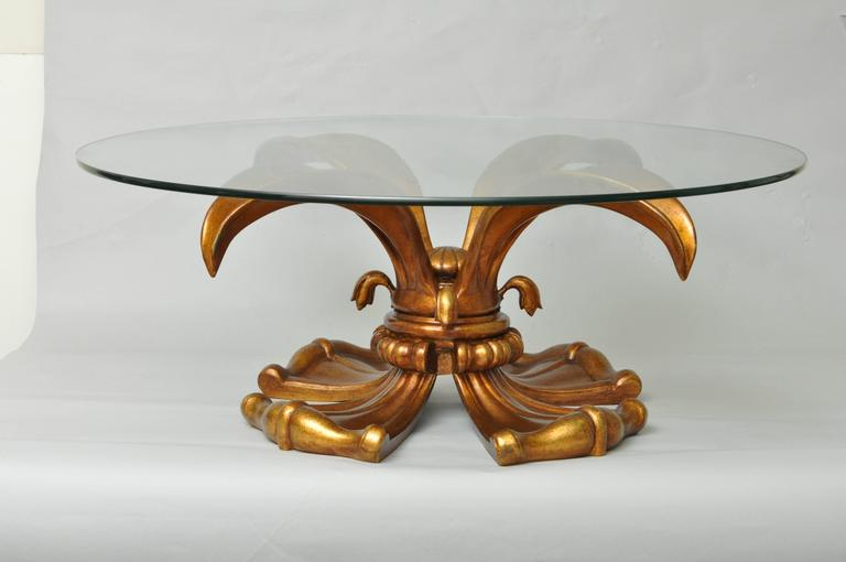 Rare Vintage Hollywood Regency Gold Gilt Metal Lotus Or Lily Round Coffee Table Attributed To Arthur