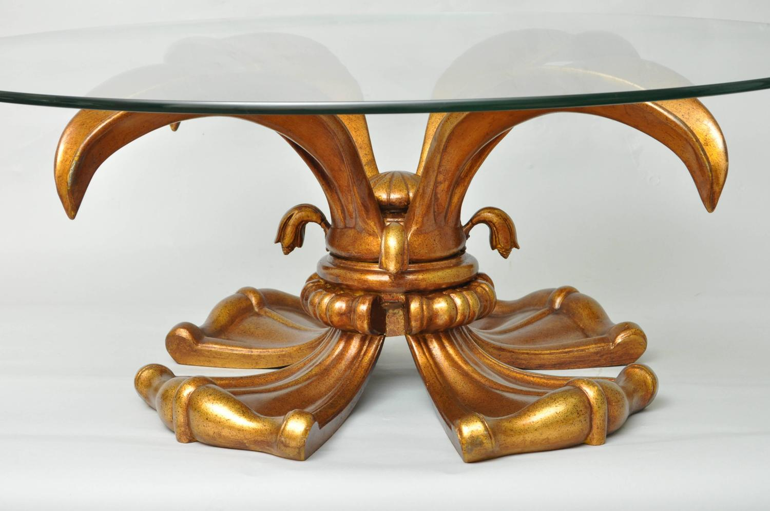 Vintage Hollywood Regency Gold Lotus Lily Round Coffee Table For Sale At 1stdibs