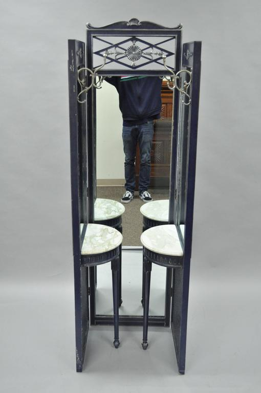 French Louis Xvi Style Blue Silver Full Length Tri Fold Dressing Mirror Vanity For