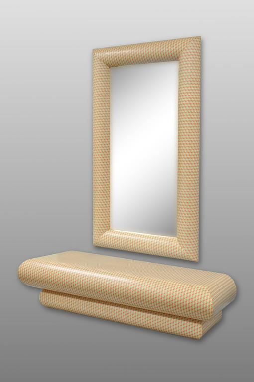 1970's Karl Springer Style Orange and White Wall Mounted Console Table & Mirror For Sale 3