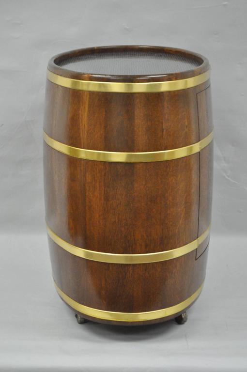 Vintage Custom Small French Oak And Brass Oval Wine Barrel