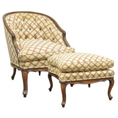 Vintage Country French Louis XV Style Barrel Back Bergere Lounge Chair & Ottoman
