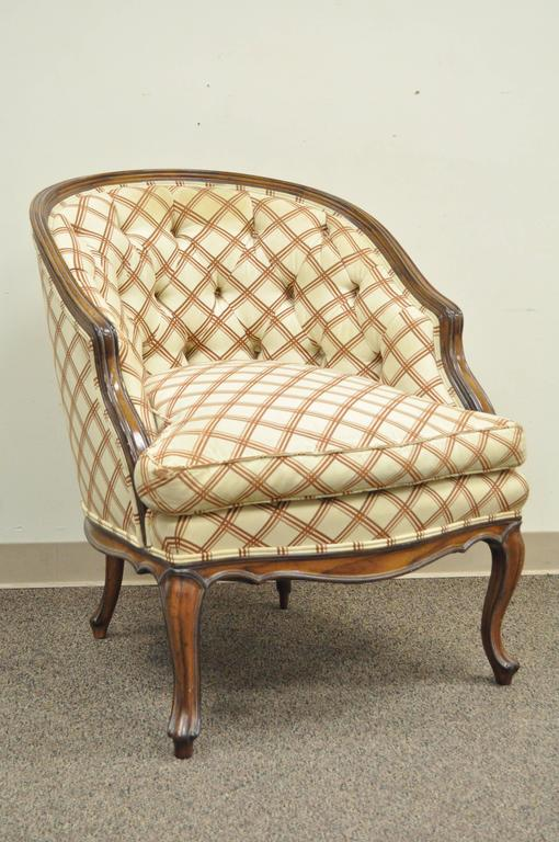 American Vintage Country French Louis XV Style Barrel Back Bergere Lounge  Chair & Ottoman For Sale - Vintage Country French Louis XV Style Barrel Back Bergere Lounge