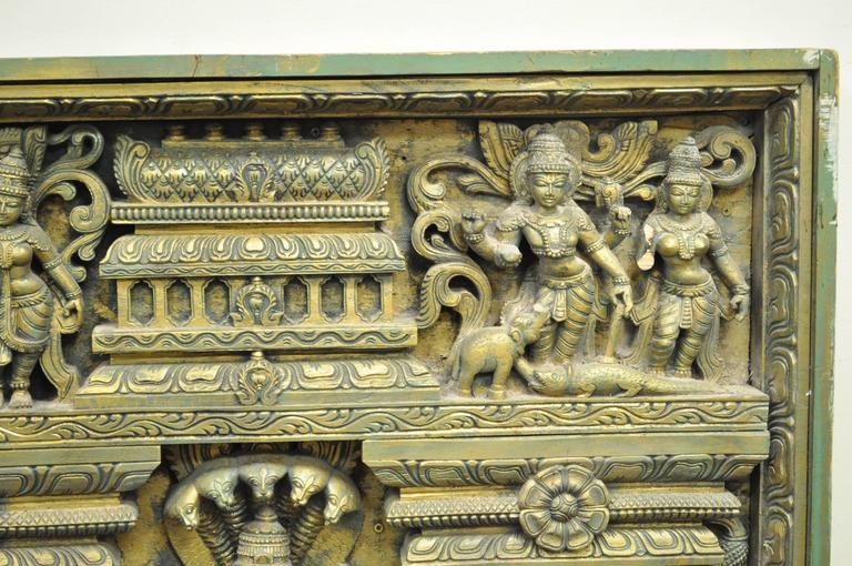 Large th century thai ornate figural relief carved wood