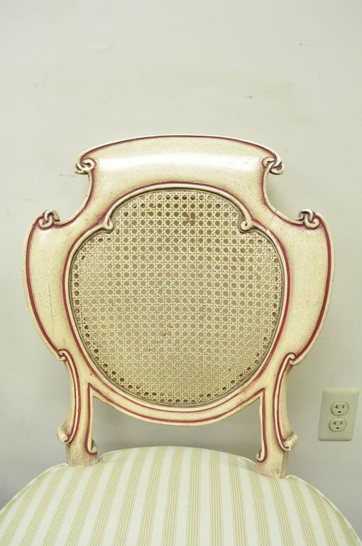 Four Scroll Carved Italian Hollywood Regency Cream Pink Cane Back Dining Chairs For Sale 2