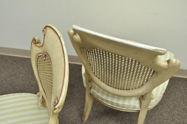 Four Scroll Carved Italian Hollywood Regency Cream Pink Cane Back Dining Chairs For Sale 3