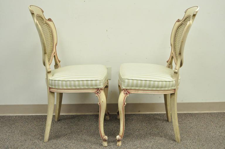 Four Scroll Carved Italian Hollywood Regency Cream Pink Cane Back Dining Chairs For Sale 4