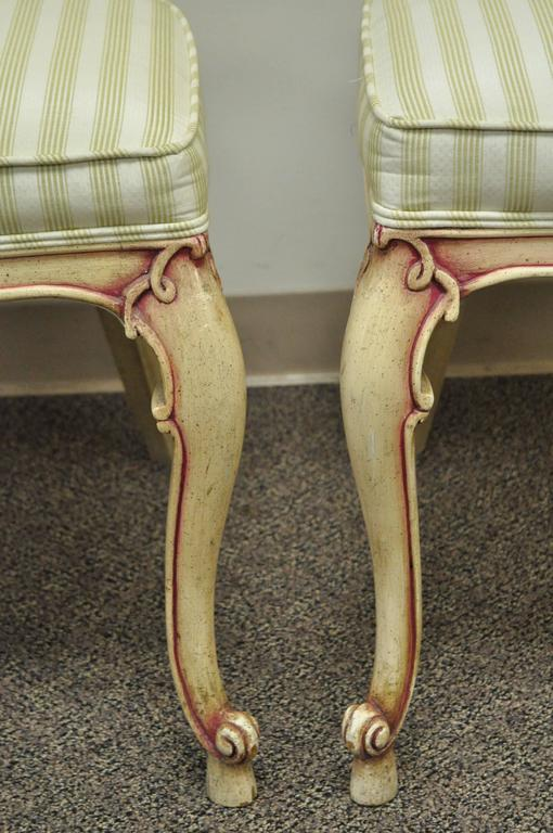 Wood Four Scroll Carved Italian Hollywood Regency Cream Pink Cane Back Dining Chairs For Sale