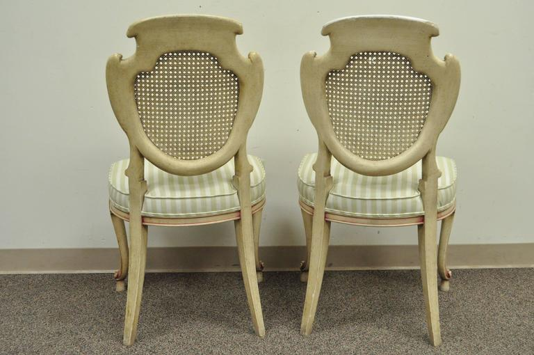Four Scroll Carved Italian Hollywood Regency Cream Pink Cane Back Dining Chairs For Sale 5