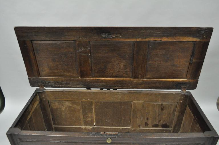 18th Century Three Panel Hand Carved Solid Oak European