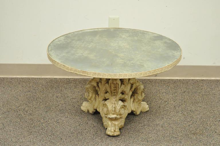 Italian Baroque Painted Carved Wood And Glomis Glass Round Coffee Table For Sale At 1stdibs