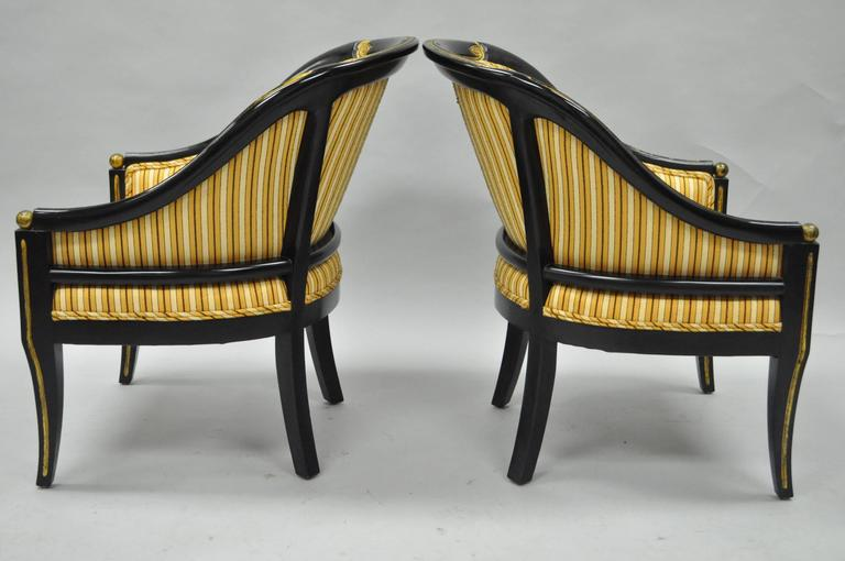 Fine Pair Of Black Ebonized And Gold Neoclassical Barrel Back Slipper Accent Chairs Bralicious Painted Fabric Chair Ideas Braliciousco