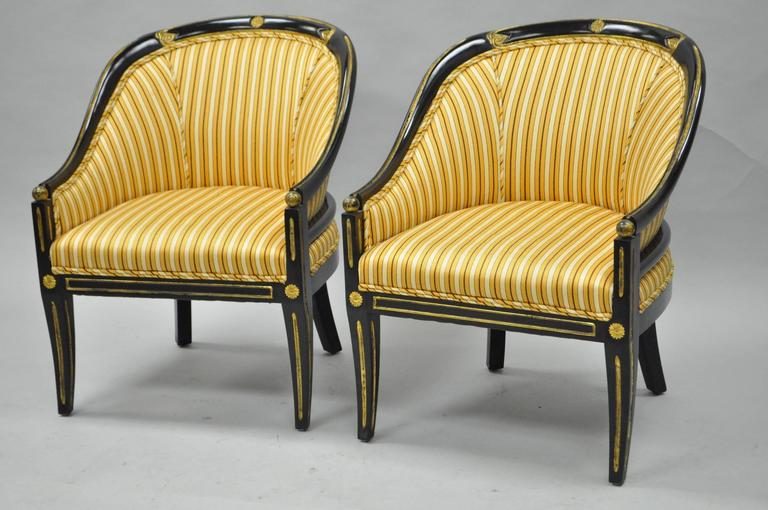 pair of black ebonized and gold neoclassical barrel back slipper accent chairs for sale at 1stdibs. Black Bedroom Furniture Sets. Home Design Ideas
