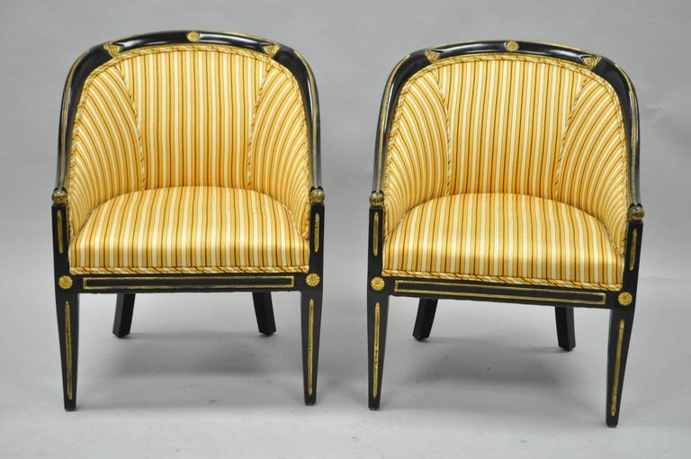 Pair Of Vintage Black Ebonized And Gold Neoclassical / Regency Style Barrel  Back Accent Chairs.