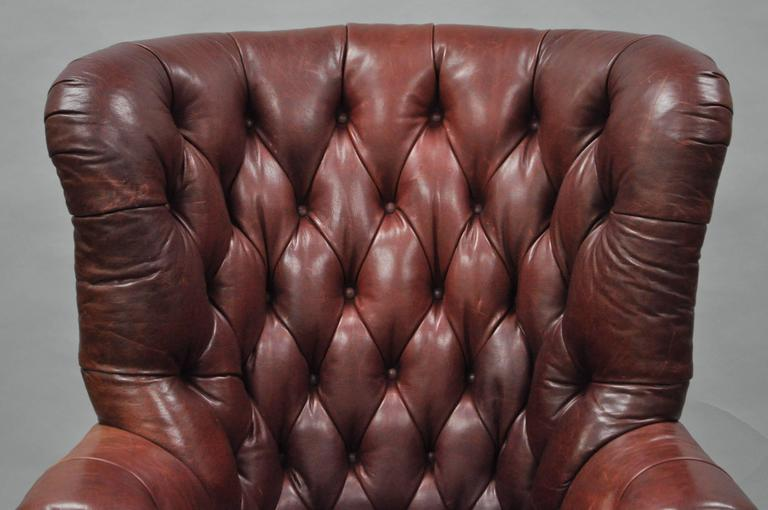 American Oversized Lillian August Brown Tufted Leather English Chesterfield  Wing Chair For Sale