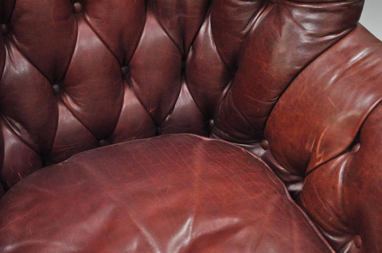 2c8432be6105 Oversized Lillian August Brown Tufted Leather English Chesterfield Wing  Chair For Sale 1