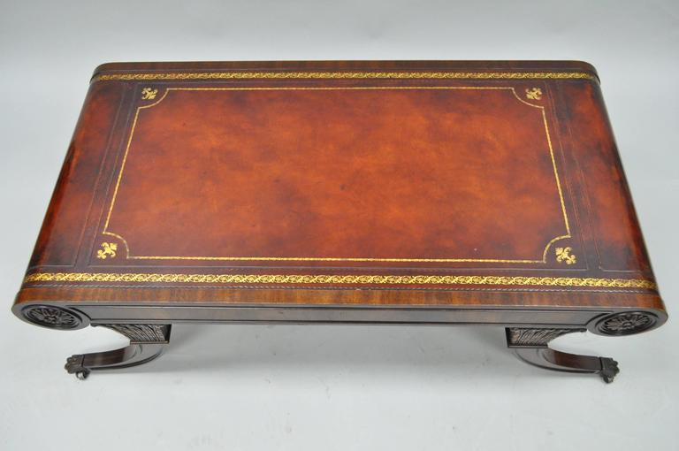 Vintage weiman regency tooled leather scroll top crotch mahogany coffee table at 1stdibs Coffee table with leather top