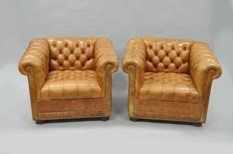 Great Quality Pair Of 21st Century Button Tufted Chesterfield Style Distressed  Cognac Leather Churchill Lounge Or Club