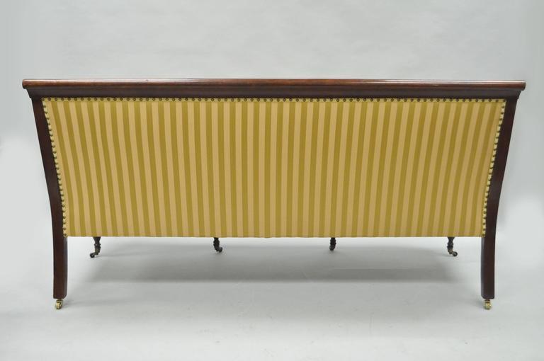 19th C Classical American Federal Cornucopia Carved Mahogany Sheraton Style Sofa For Sale 5