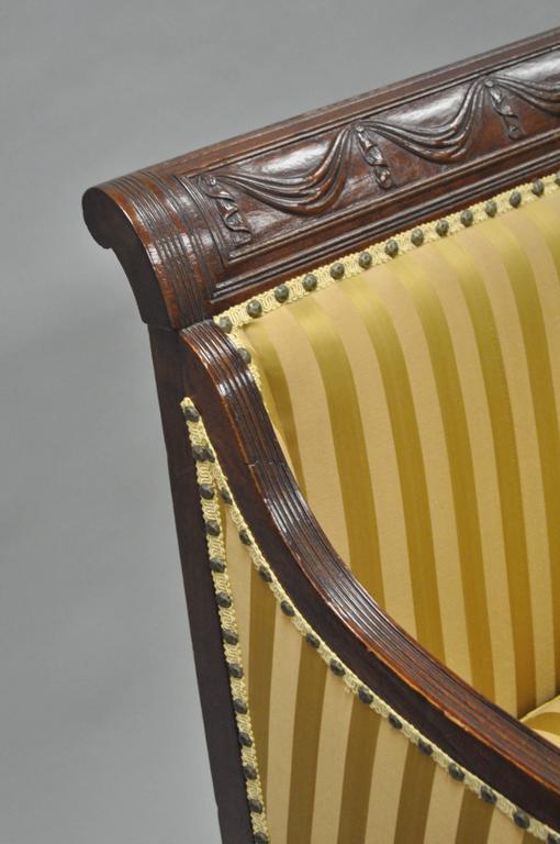 Fabric 19th C Classical American Federal Cornucopia Carved Mahogany Sheraton Style Sofa For Sale