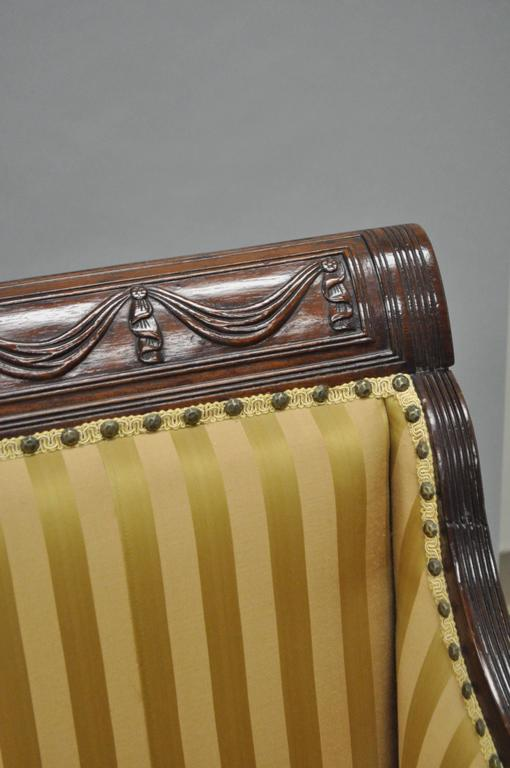 19th Century 19th C Classical American Federal Cornucopia Carved Mahogany Sheraton Style Sofa For Sale
