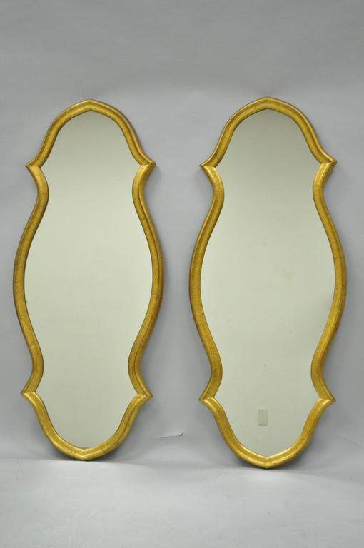 Pair of Vintage Carved Wood Hollywood Regency Gold Keyhole Frame Wall Mirrors For Sale 4
