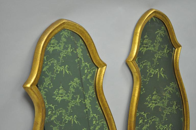 American Pair of Vintage Carved Wood Hollywood Regency Gold Keyhole Frame Wall Mirrors For Sale