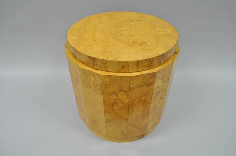 Mid-Century Modern Vintage Edward Wormley for Dunbar Burl Wood Pedestal Accent Drum Table 6302F For Sale