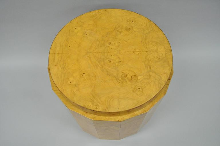 Veneer Vintage Edward Wormley for Dunbar Burl Wood Pedestal Accent Drum Table 6302F For Sale