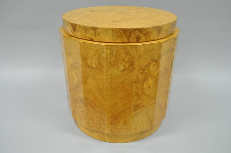 Vintage Edward Wormley for Dunbar Burl Wood Pedestal Accent Drum Table 6302F For Sale 3
