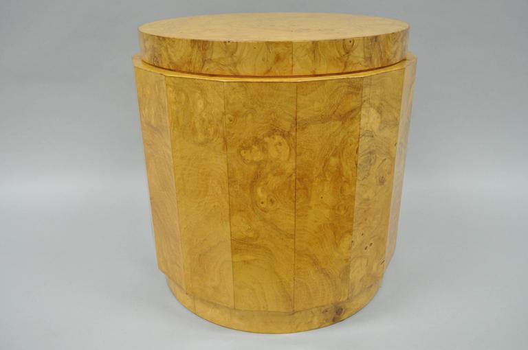 Vintage Mid-Century Modern Edward Wormley for dunbar burl wood pedestal side table 6302F. Item features a beautiful faceted columnar exterior, figured burl wood grain veneer and the original labels.