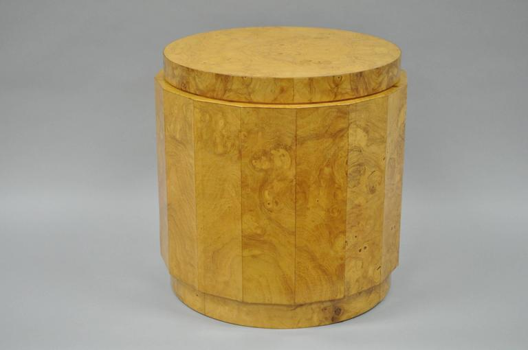 American Vintage Edward Wormley for Dunbar Burl Wood Pedestal Accent Drum Table 6302F For Sale