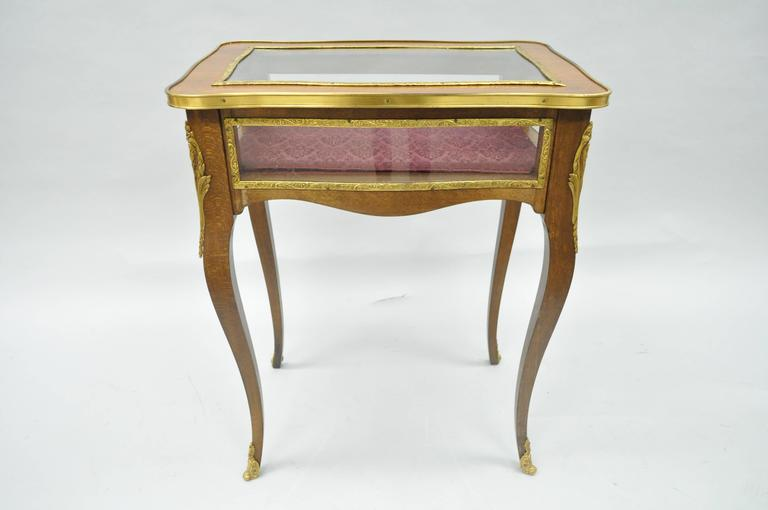 Vintage French Louis XV Style Brass and Glass Flip Top Display Accent Side Table For Sale 5