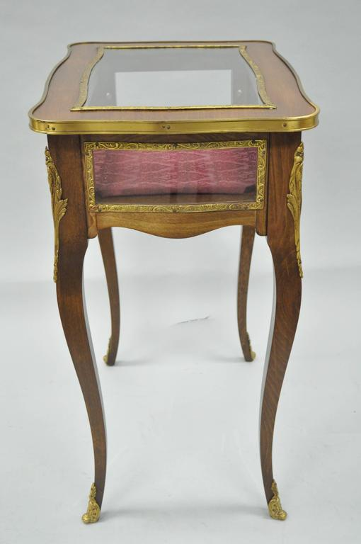 Vintage French Louis XV Style Brass and Glass Flip Top Display Accent Side Table For Sale 1