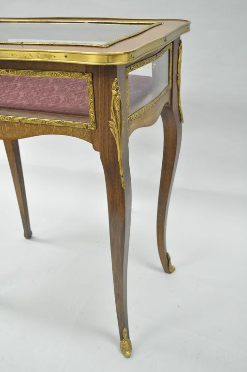 Late 20th Century Vintage French Louis XV Style Brass and Glass Flip Top Display Accent Side Table For Sale