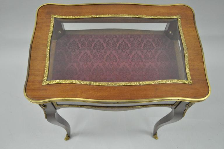 Spanish Vintage French Louis XV Style Brass and Glass Flip Top Display Accent Side Table For Sale