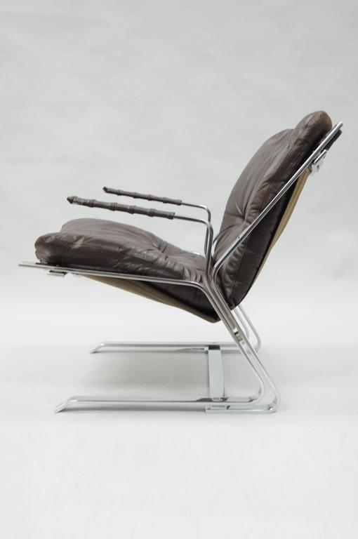 Mid-Century Modern Pirate Lounge Chair Brown Leather & Chrome by Elsa & Nordahl Solheim for Rykkin For Sale