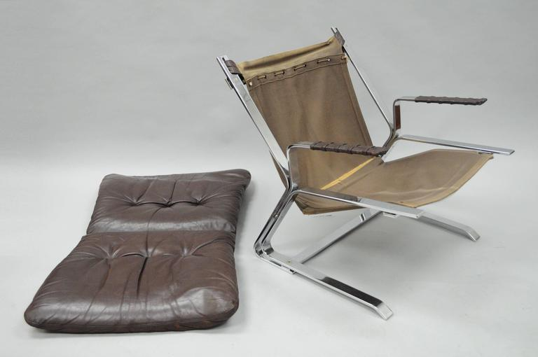 Pirate Lounge Chair Brown Leather & Chrome by Elsa & Nordahl Solheim for Rykkin For Sale 2