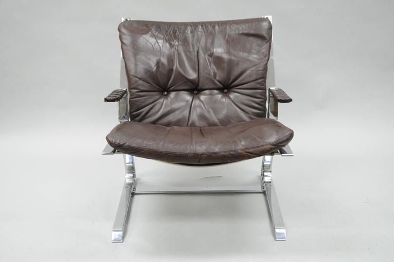 Vintage Mid Century Modern brown leather and flatbar chrome