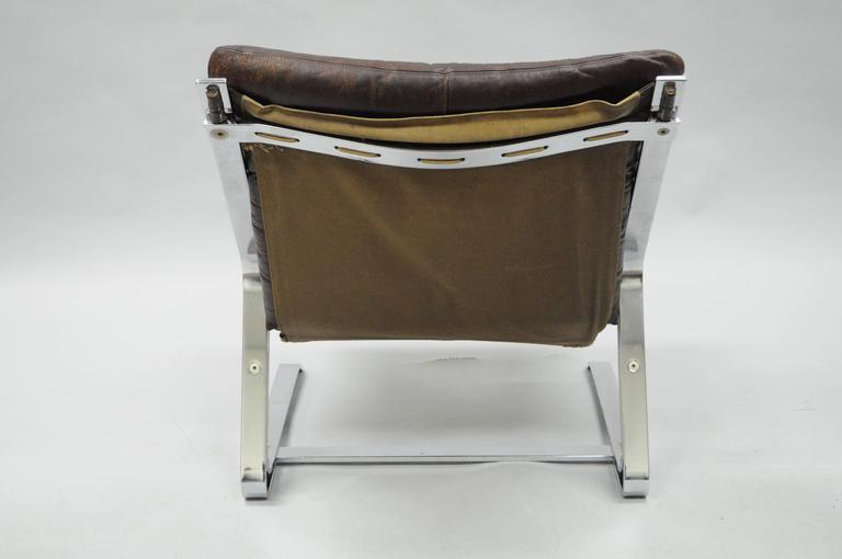 Plated Pirate Lounge Chair Brown Leather & Chrome by Elsa & Nordahl Solheim for Rykkin For Sale
