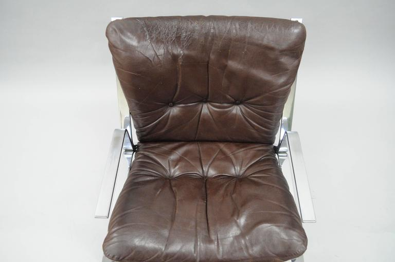 Pirate Lounge Chair Brown Leather & Chrome by Elsa & Nordahl Solheim for Rykkin In Good Condition For Sale In Philadelphia, PA