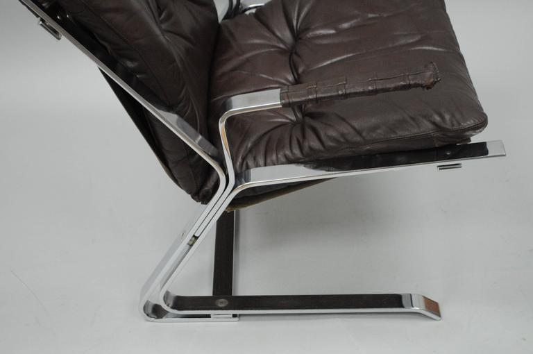 Norwegian Pirate Lounge Chair Brown Leather & Chrome by Elsa & Nordahl Solheim for Rykkin For Sale