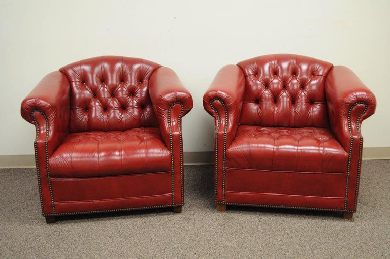 Pair Of American Made Red Leather English Chesterfield Style Tufted Club  Chairs By Jasper Seating Co