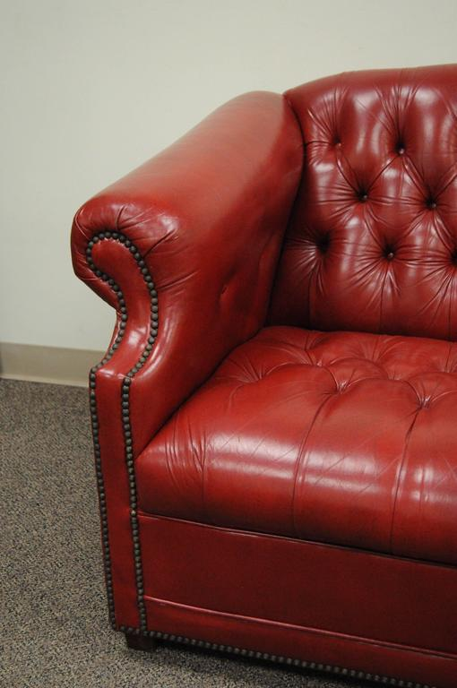 Vintage Red Leather English Chesterfield Style Button Tufted Sofa by ...