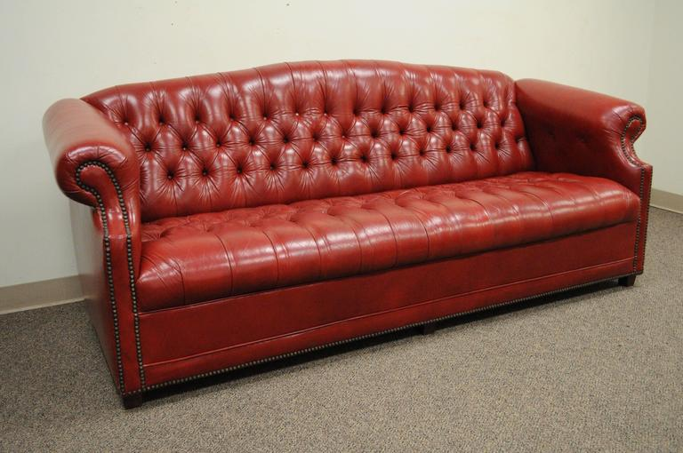 Vintage Red Leather English Chesterfield Style Button