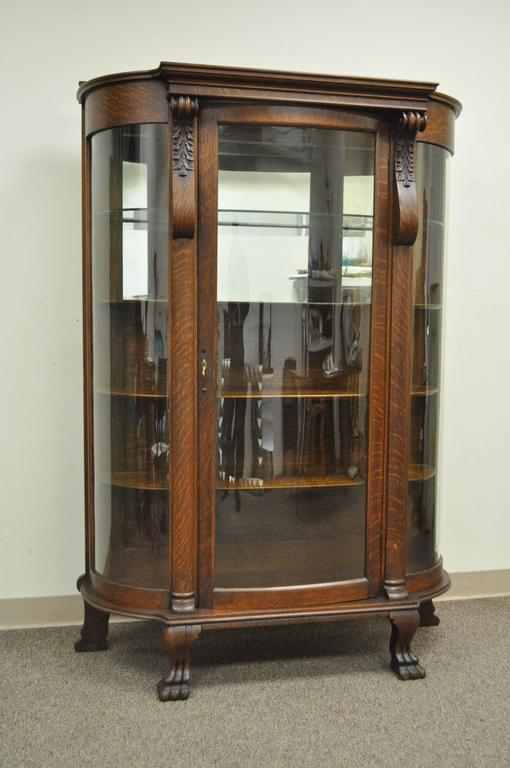 Antique bow front curved glass tiger oak china cabinet. Item features  figured tiger oak, - Antique Tiger Oak Bow Front Curved Glass And Mirror Curio Display