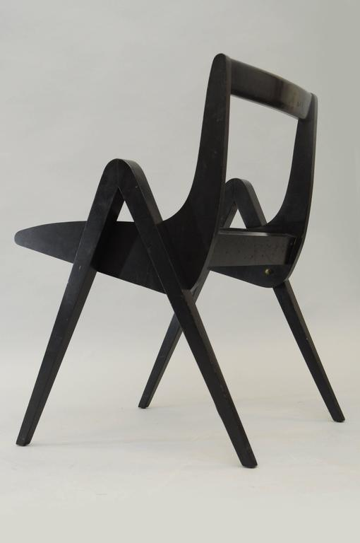 Mid-Century Modern 1950s Black Ebonized Compass Side Chair After Allan Gould or Pierre Jeanneret For Sale